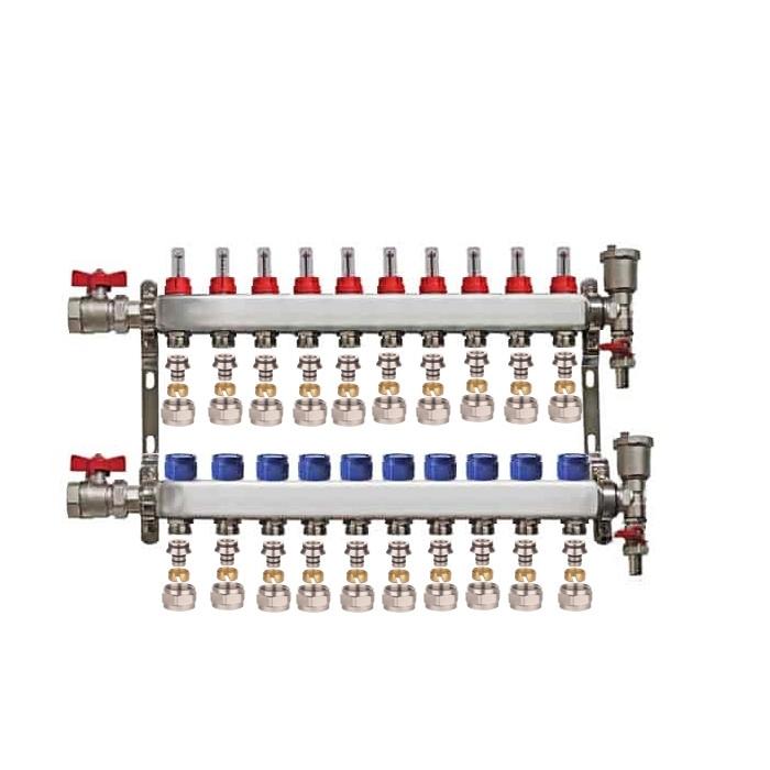 "Set distribuitor 1"" / 10 circuite cu conectori EK x 17 mm, robineti golire, aerisitoare automate si robineti cu olandez, Daver"