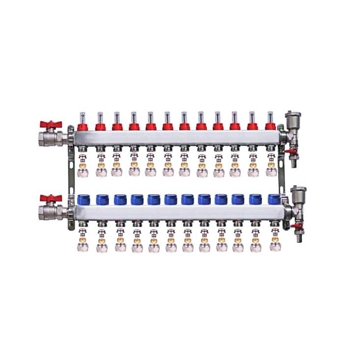 "Set distribuitor 1"" / 12 circuite cu conectori EK x 16 mm, robineti golire, aerisitoare automate si robineti cu olandez, Daver"