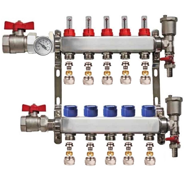"Distribuitor set complet  1"" / 5 circuite cu conectori EK x 17 mm, Daver"