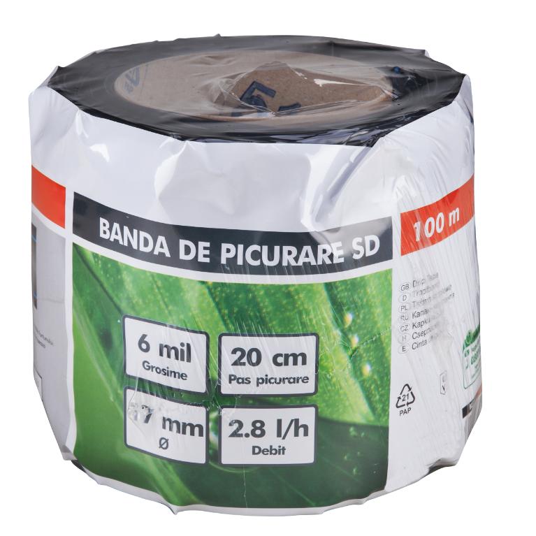 Banda de picurare SD  Ø17 mm, pas de 40 cm, lungime 100 m, debit/orificiu 2,8 l/h