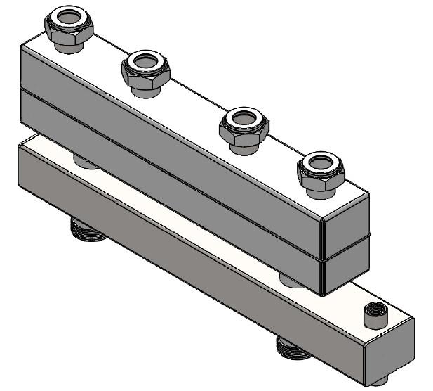 Distribuitor - colector cu separator hidraulic integrat cu 2 circuite  4,5 mc/h - 104,67 kW Fome + izolatie si consola