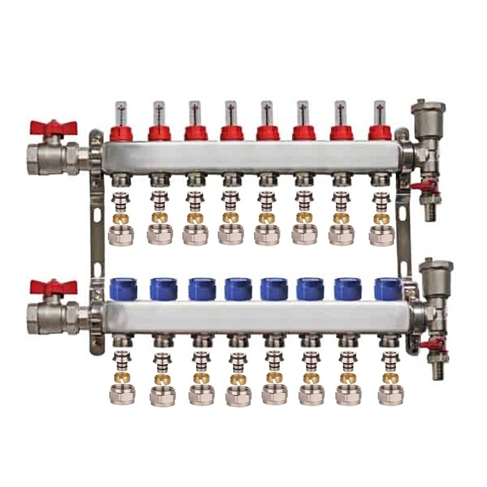 "Set distribuitor 1"" / 8 circuite cu conectori EK x 16 mm, robineti golire, aerisitoare automate si robineti cu olandez, Daver"
