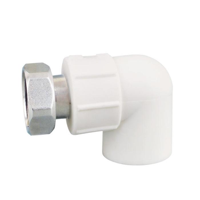 """Cot PPR alb Ø25 mm cu semiolandez de 3/4"""" filet interior"""