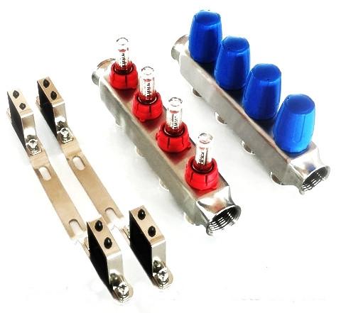 """Distribuitor inox 1"""" / 7 circuite cu debitmetre pentru incalzirea in pardoseala"""