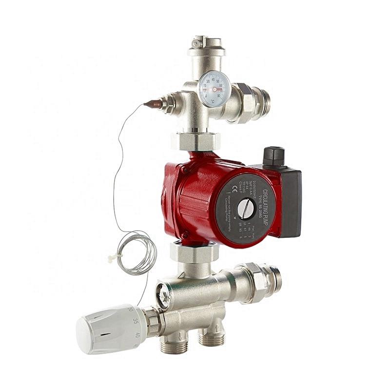 Grup de amestec cu pompa Ferro 25/4-130 cu 3 viteze si cap termostatic cu senzor pentru incalzire in pardoseala de max. 150 mp