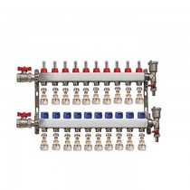 "Set distribuitor 1"" / 10 circuite cu conectori EK x 16 mm, robineti golire, aerisitoare automate si robineti cu olandez, Daver"