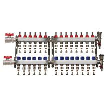 "Set distribuitor 1"" / 14 circuite cu conectori EK x 17 mm, robineti golire, aerisitoare automate si robineti cu olandez, Daver"