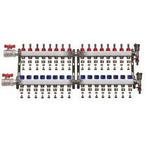 "Set distribuitor 1"" / 16 circuite cu conectori EK x 16 mm, robineti golire, aerisitoare automate si robineti cu olandez, Daver"