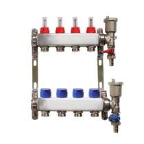 Distribuitor pentru 4 circuite cu debitmetre, robineti golire si aerisitoare automate, Daver, pentru incalzire in pardoseala