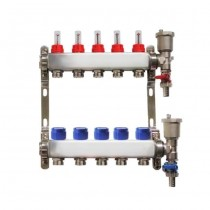 Distribuitor pentru 5 circuite cu debitmetre, robineti golire si aerisitoare automate, Daver, pentru incalzire in pardoseala