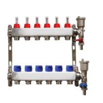 Distribuitor pentru 6 circuite cu debitmetre, robineti golire si aerisitoare automate, Daver, pentru incalzire in pardoseala