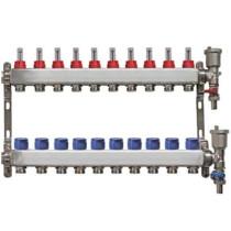 Distribuitor pentru 10 circuite cu debitmetre, robineti golire si aerisitoare automate, Daver, pentru incalzire in pardoseala