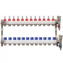 Distribuitor pentru 12 circuite cu debitmetre, robineti golire si aerisitoare automate, Daver, pentru incalzire in pardoseala