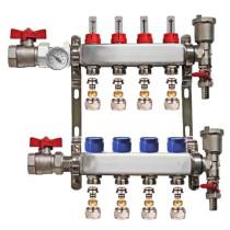 "Distribuitor set complet  1"" / 4 circuite cu conectori EK x 17 mm, Daver"