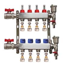 "Set distribuitor 1"" / 4 circuite cu conectori EK x 17 mm, robineti golire, aerisitoare automate si robineti cu olandez, Daver"