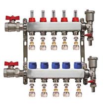 "Set distribuitor 1"" / 5 circuite cu conectori EK x 17 mm, robineti golire, aerisitoare automate si robineti cu olandez, Daver"