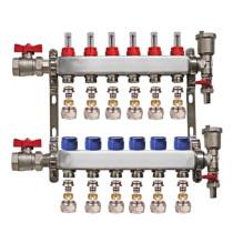 "Set distribuitor 1"" / 6 circuite cu conectori EK x 17 mm, robineti golire, aerisitoare automate si robineti cu olandez, Daver"