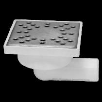 Sifon patrat inox 150x150 mm  cu intrare si iesire in linie Ø50 mm pentru pardoseala