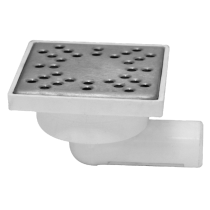 Sifon patrat inox 100x100 mm  cu intrare si iesire in linie Ø40 mm pentru pardoseala