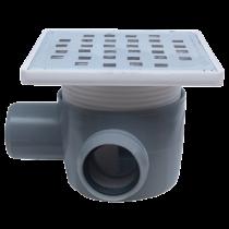 Sifon 150x150 mm cu o intrare Ø40 mm  pe stanga si iesire Ø50 mm la 90° pentru pardoseala