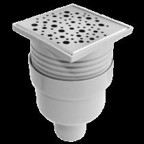 Sifon inox 100x100 mm cu inaltator si iesire verticala Ø50 mm pentru pardoseala