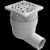 Sifon inox 100x100 mm cu inaltator si iesire laterala  Ø 50 mm pentru pardoseala