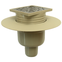 Sifon inox100x100 mm izolabil cu inaltator si iesire verticala Ø50 mm pentru pardoseala