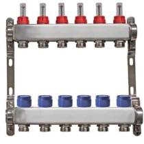 """Distribuitor inox 1"""" / 6 circuite cu debitmetre pentru incalzirea in pardoseala"""