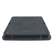 Capac negru cu siguranta pentru camine de canalizare 710x710 mm - 12,5 tone