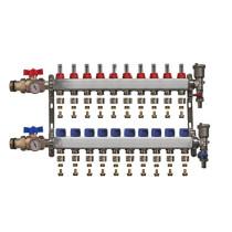 """Distribuitor inox 1"""" / 10 circuite cu debitmetre, robineti cu termometru, kituri golire-aerisire automata si conectori EK-Ø17X2 mm"""
