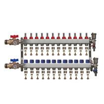 """Distribuitor inox 1"""" / 12 circuite cu debitmetre, robineti cu termometru, kituri golire-aerisire automata si conectori EK-Ø16X2 mm"""