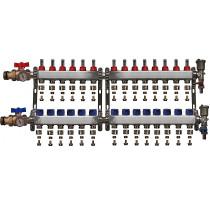 """Distribuitor inox 1"""" / 14 circuite cu debitmetre, robineti cu termometru, kituri golire-aerisire automata si conectori EK-Ø17X2 mm"""