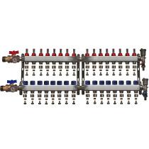 """Distribuitor inox 1"""" / 16 circuite cu debitmetre, robineti cu termometru, kituri golire-aerisire automata si conectori EK-Ø16X2 mm"""