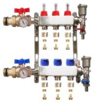 """Distribuitor inox 1"""" / 3 circuite cu debitmetre, robineti cu termometru, kituri golire-aerisire automata si conectori EK-Ø17X2 mm"""