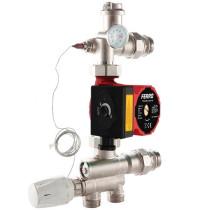 Grup de amestec Daver cu pompa electronica LowEnergy 25/4-130  si cap termostatic cu senzor pentru incalzire in pardoseala de max. 160 mp