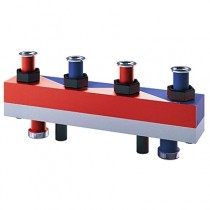 Distribuitor - colector cu separator hidraulic integrat cu 4 circuite  7 mc/h - 160kW HydroFixx + izolatie si consola