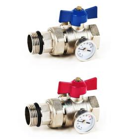 """Set robineti tur/retur cu debit marit cu olandez de 1"""" si termometre asociate"""