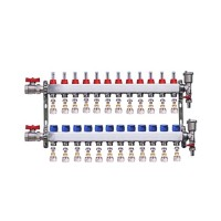 "Set distribuitor 1"" / 12 circuite cu conectori EK x 17 mm, robineti golire, aerisitoare automate si robineti cu olandez, Daver"