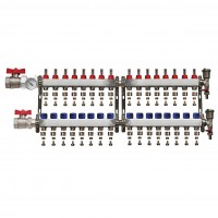 "Distribuitor set complet  1"" / 16 circuite cu conectori EK x 17 mm, Daver"