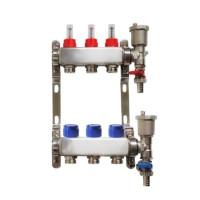 Distribuitor pentru 3 circuite cu debitmetre, robineti golire si aerisitoare automate, Daver, pentru incalzire in pardoseala