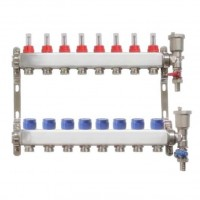 Distribuitor pentru 8 circuite cu debitmetre, robineti golire si aerisitoare automate, Daver, pentru incalzire in pardoseala