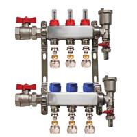 "Set distribuitor 1"" / 3 circuite cu conectori EK x 17 mm, robineti golire, aerisitoare automate si robineti cu olandez, Daver"