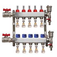"Set distribuitor 1"" / 5 circuite cu conectori EK x 16 mm, robineti golire, aerisitoare automate si robineti cu olandez, Daver"