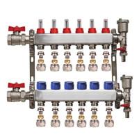 "Set distribuitor 1"" / 6 circuite cu conectori EK x 16 mm, robineti golire, aerisitoare automate si robineti cu olandez, Daver"