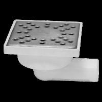 Sifon patrat inox 100x100 mm  cu intrare si iesire in linie Ø32 mm pentru pardoseala