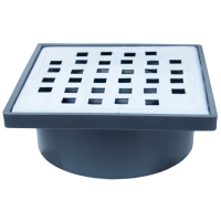 Sifon patrat 150x150 mm cu iesire verticala Ø50 mm pentru pardoseala