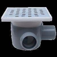Sifon 150x150 mm cu o intrare Ø40 mm  pe dreapta si iesire Ø50 mm la 90° pentru pardoseala
