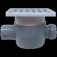 Sifon 150x150 mm  cu o intrare Ø40 mm si iesire Ø50 mm la 180° pentru pardoseala