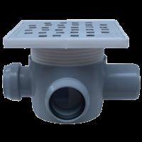 Sifon 160x160 mm  cu doua intrari Ø40 mm la 90° pe stanga si o iesire Ø50 mm la 180° pentru pardoseala