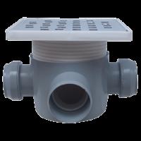 Sifon 160x160 mm cu doua intrari Ø40 mm la 180° si o iesire Ø50 mm la 90° pentru pardoseala